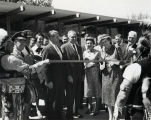 Goddard Exhibit Dedication, Esther Goddard and others ready to cut ribbon - 1959