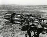 Dr. Goddard with four rocket motors - Nov 7, 1936
