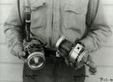 Mr. Ljungquist holding rocket pumps - Apr 1940