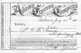 "23 June 1862 receipt from Adams Express Co, Baltimore for ""one valise""- unaddressed"