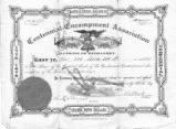 23 May 1876 Share certificate, ten shares of the Centennial Encampment Association.