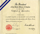 Award Certificate from Franklin D. Roosevelt