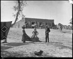 """Scene at Trading Post (Hubbell), Trader buying a Navajo Blanket"", Ganado, Arizona"