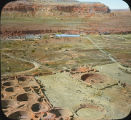 Birds-eye view of Chaco Canyon archaeological site, New Mexico