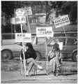 Campaign workers Linda Montano and Cliff Mills at Nava Elementary School, Santa Fe, New Mexico
