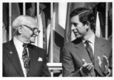 Armand Hammer, founder of United World College, with Prince Charles at dedication of college