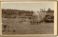 Charcoal ovens being constructed to supply the Denver smelters by Mr. A.C. Dake on Red River,...
