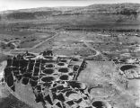 Birds-eye view of the excavations at Pueblo Bonito, Chaco Canyon, New Mexico