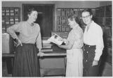 Archaeologists (left to right) Marjorie Lambert, Bertha Dutton and Florence Hawley Ellis, Pecos...
