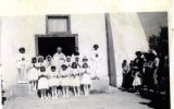 First Communion class in front of Old Church